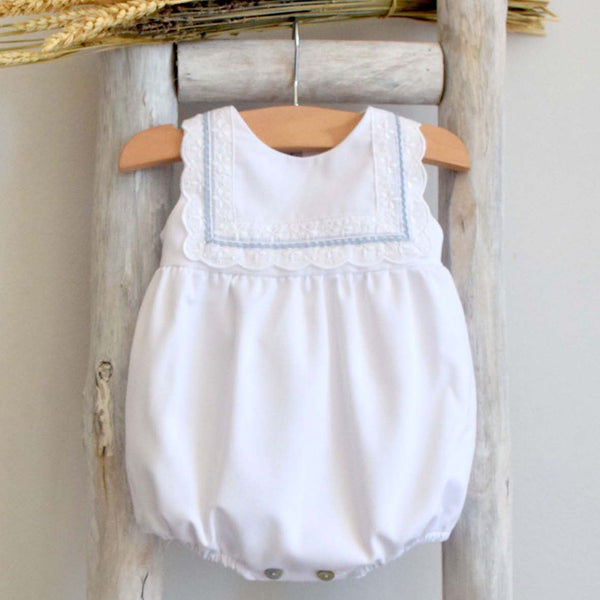 Baby romper in white and blue