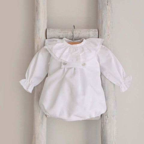 Piquet romper in white
