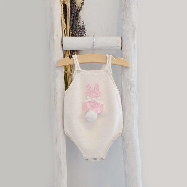 Bunny romper white/pink