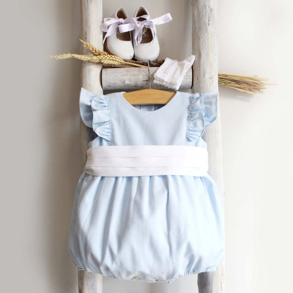 Blue frilled romper