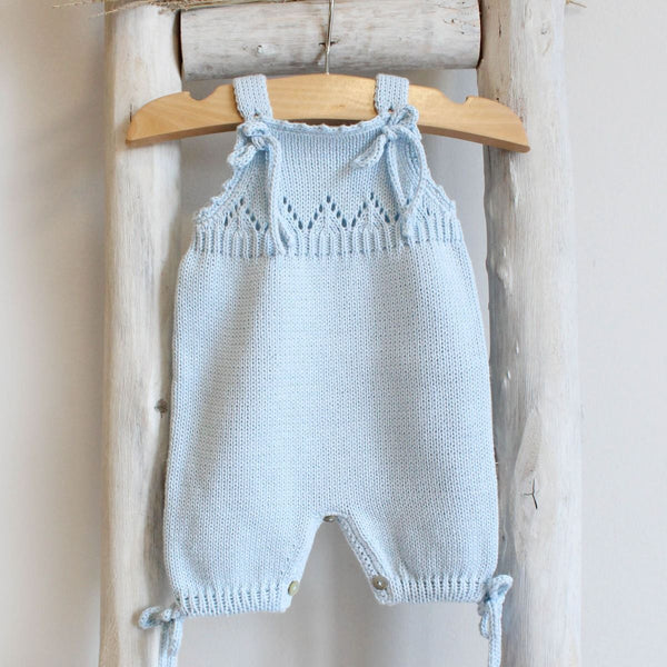 Organic cotton blue Knitted romper