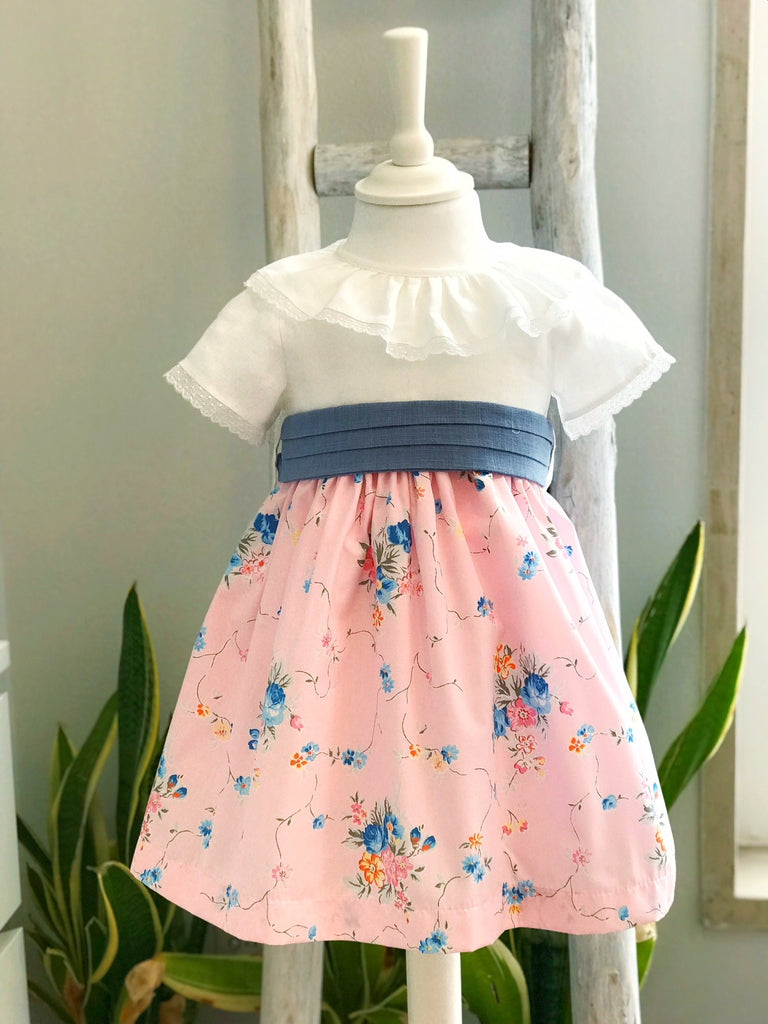 Grace flower dress in pink and blue