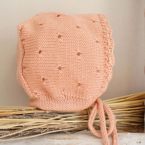 Knitted  peach bonnet