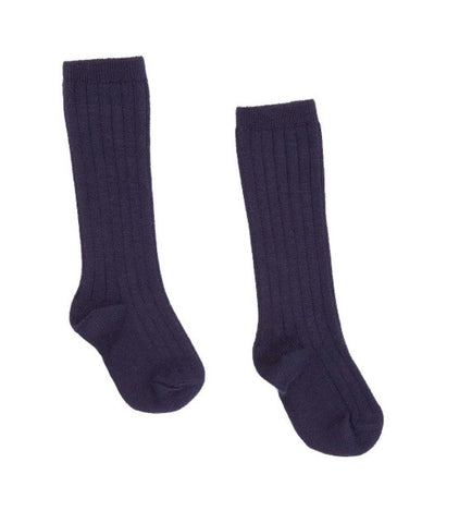 Navy blue ribbed knit high knee socks