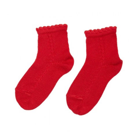 Openwork short socks- red