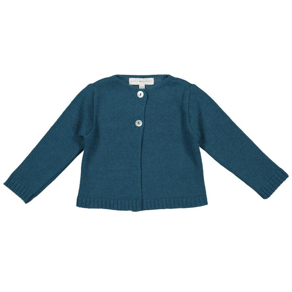 Petrol blue knitted cardigan