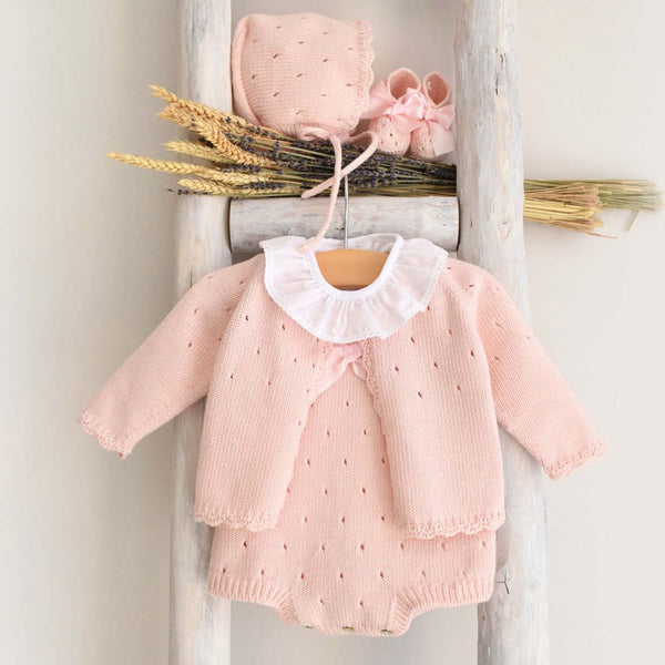Organic cotton booties in pink