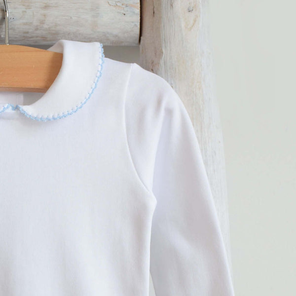 White bodysuit- long sleeves blue trim