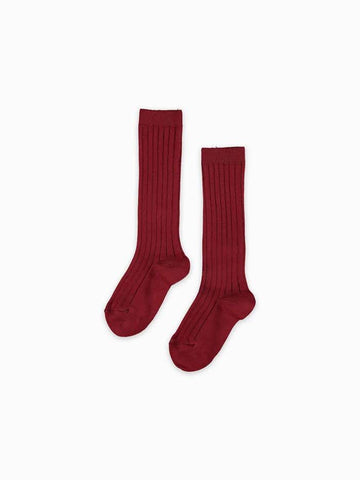 Burgundy ribbed knit high knee socks