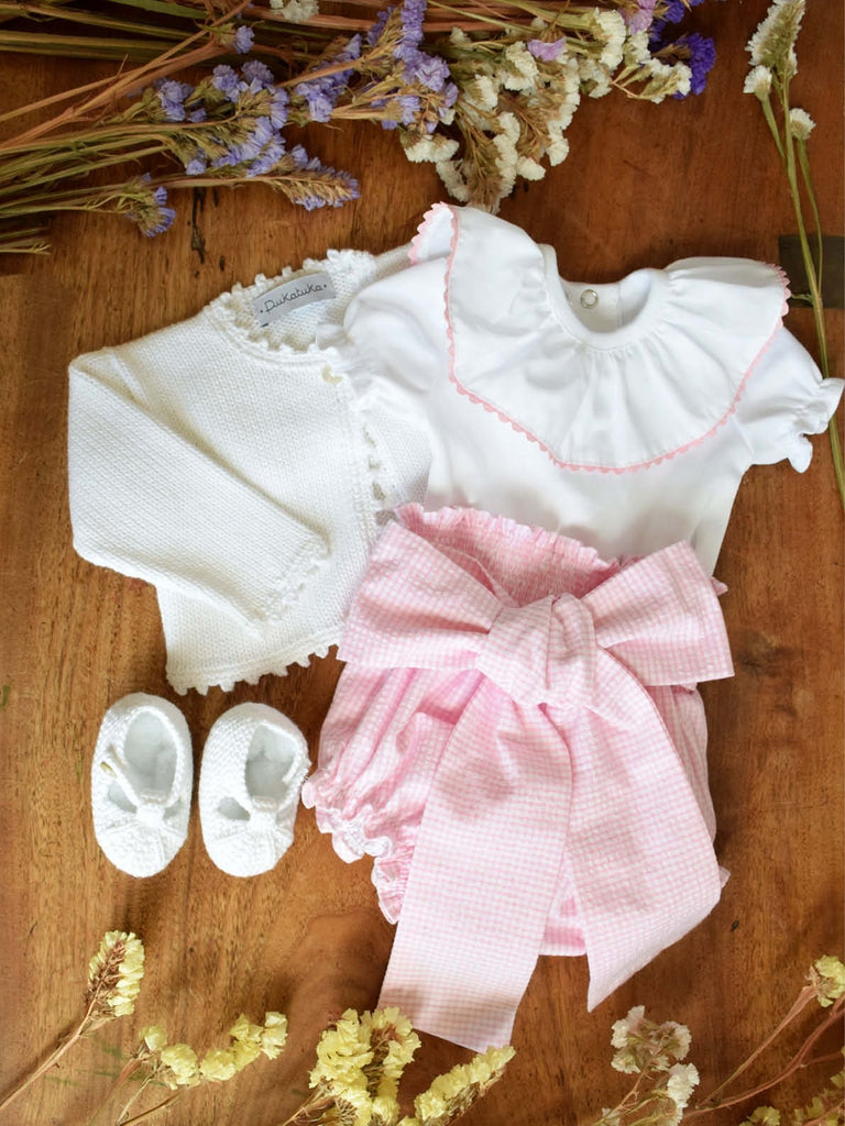 Pink gingham bow bloomer