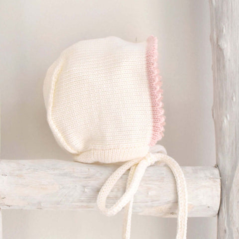Cream and Pink  knitted bonnet