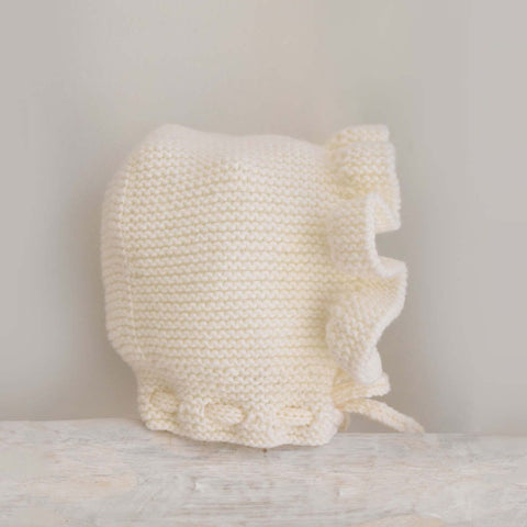 Cream knitted bonnet