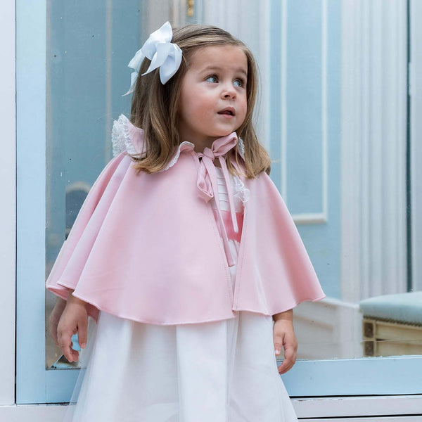 Anna tulle dress with pink satin sash