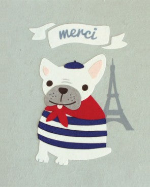 Merci Bulldog - Handmade Card