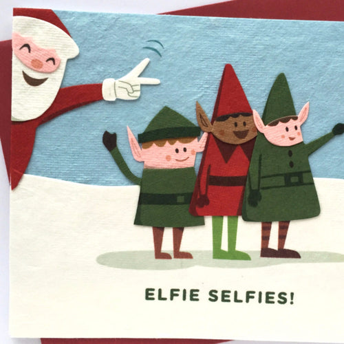 Elfie Selfies - Handmade Card