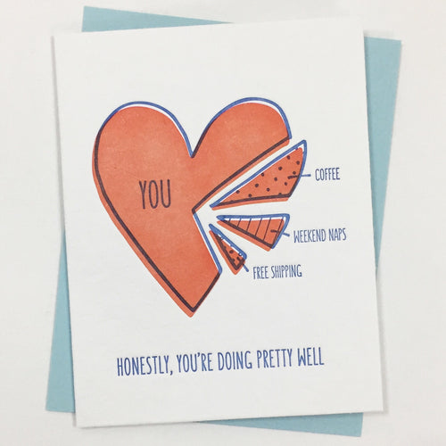 Heart Pie Chart - Letterpress Card