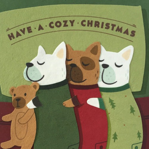 Cozy Dog Christmas - Handmade Card
