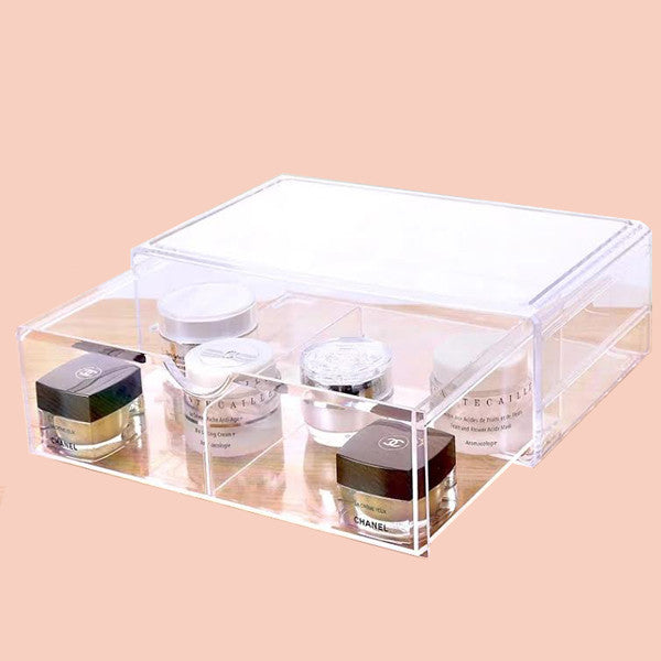 Acrylic makeup organizer box for makeup storage available in Singapore, never lose your items again.