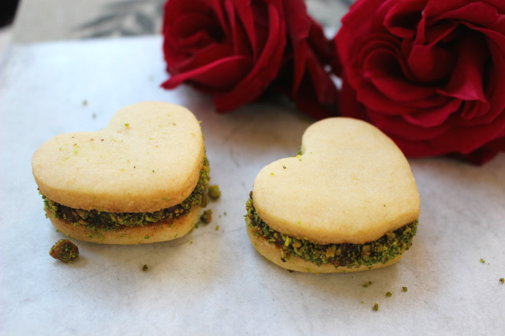 Heart-Shaped Fig Petit Fours Dipped with Pistachios, 12-Pieces