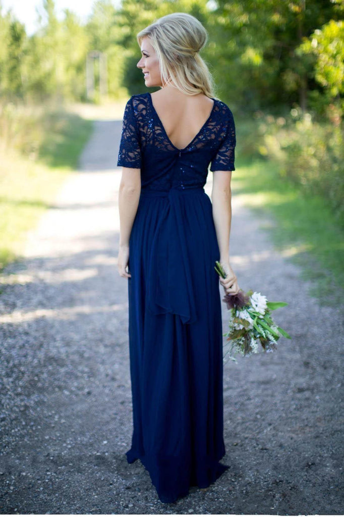 1/2 Long Sleeves Navy Lace Long Bridesmaid Dresses Online, WG789
