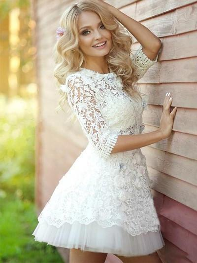 2016 popular long sleeve Lace see through cute homecoming prom dress,BD0001