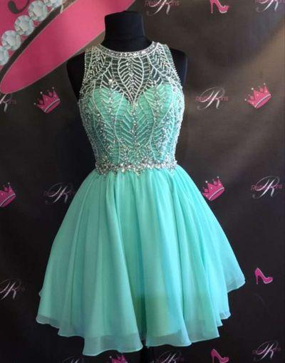 2016 Tiffany Blue Chiffon Beaded Cute homecoming prom dresses, CM0013