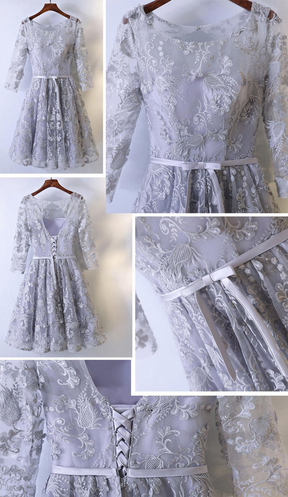 2017 Long Sleeve Gray Lace Round Neckline Homecoming Prom Dresses, Affordable Corset Back Short Party Prom Dresses, Perfect Homecoming Dresses, CM250