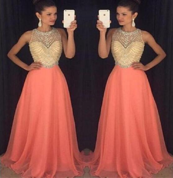2017 Peach Halter Evening Prom Dresses, Long Beaded Party Prom Dress, Custom Long Prom Dresses, Cheap Formal Prom Dresses, 17068