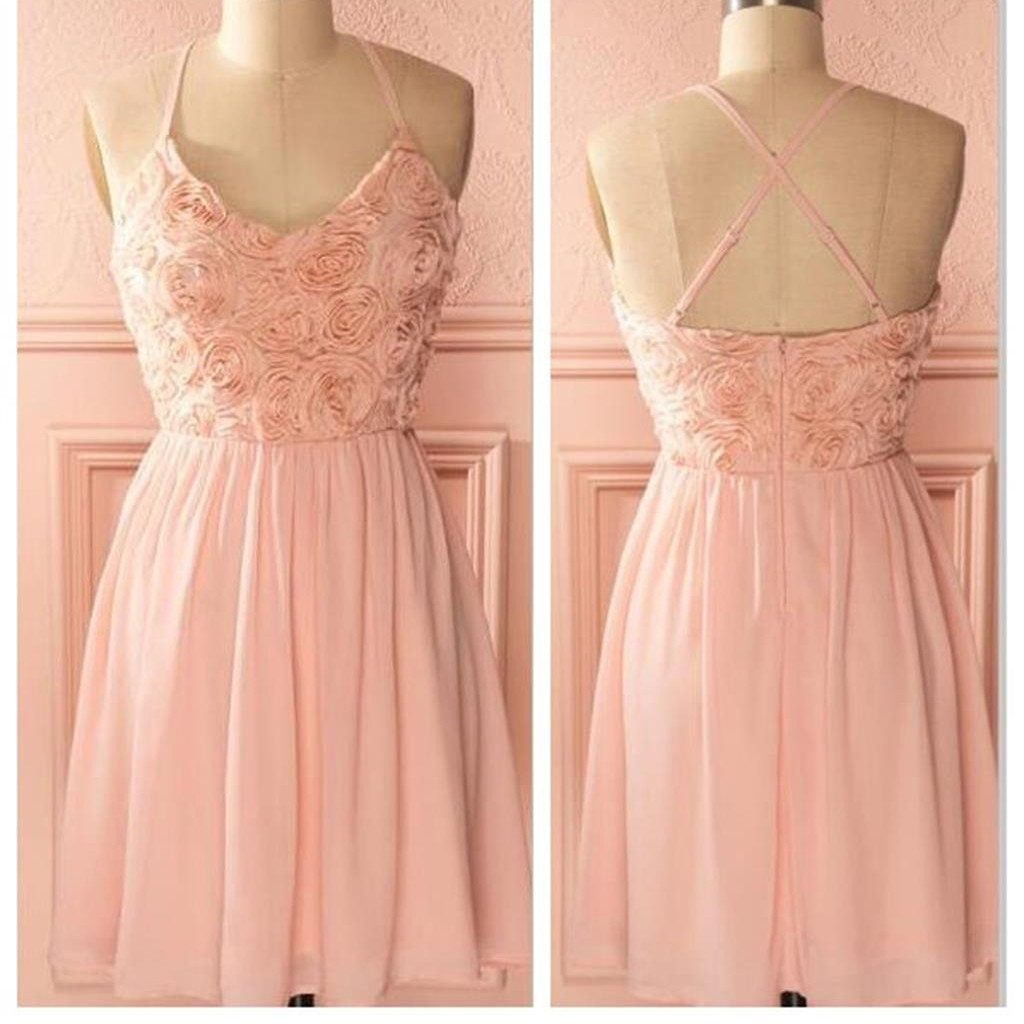 2017 peach pink spaghetti strap simple mini freshman homecoming prom bridesmaid dress,BD0074