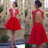 2017 popular blush red open back sexy with short sleeve cocktail homecoming prom dress,BD00133