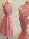 2017 popular dark pink lace high neck unique style charming freshman homecoming prom gown dress,BD0089