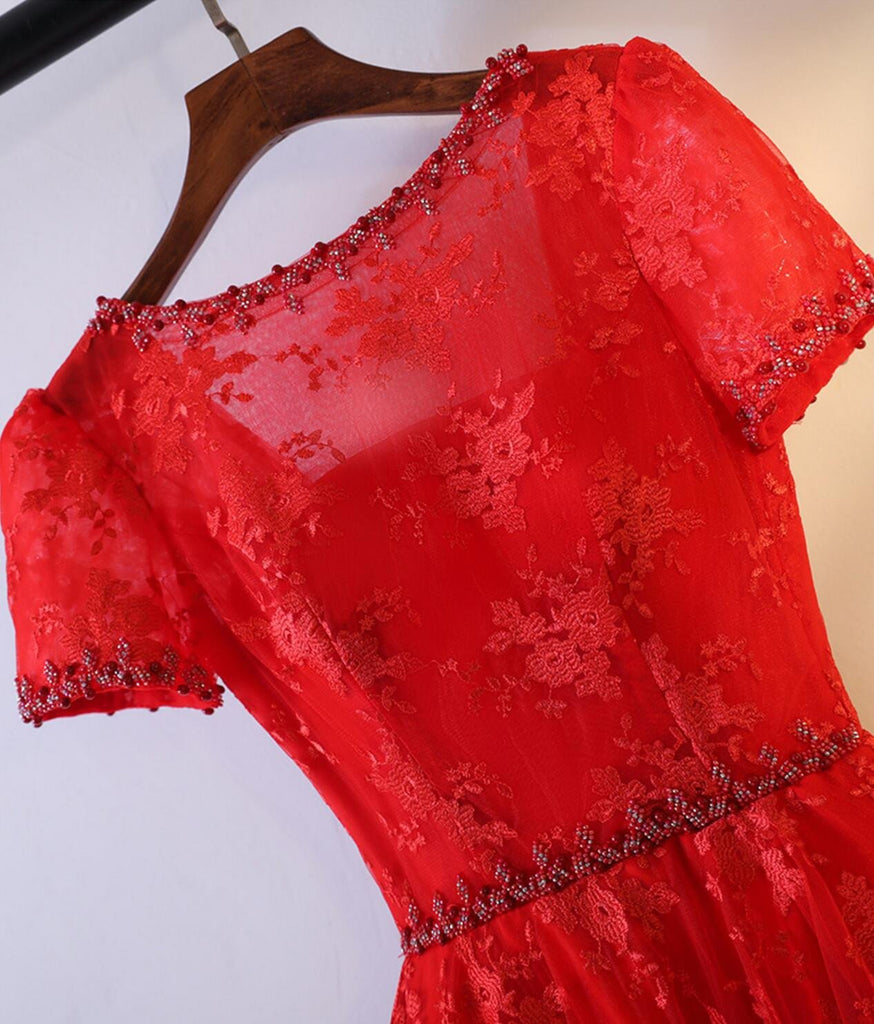 2017 Short Sleeve Red Lace Round Neckline Homecoming Prom Dresses, Affordable Corset Back Short Party Prom Dresses, Perfect Homecoming Dresses, CM249