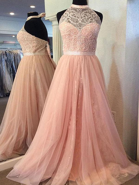 2018 Blush Pink Halter Lace Beaded Long Custom Evening Prom Dresses, 17412
