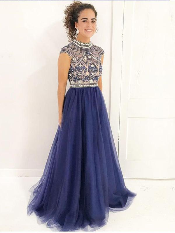 2018 Delicate Beading High Neckline Navy Tulle Long Evening Prom Dresses, 17343