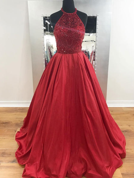 2018 Fashion New Style Halter Beaded A line Long Evening Prom Dresses, 17350