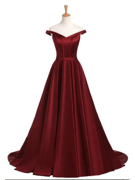 2018 Fashion New Style Simple Off the Shoulder Red A line Long Evening Prom Dresses, 17351