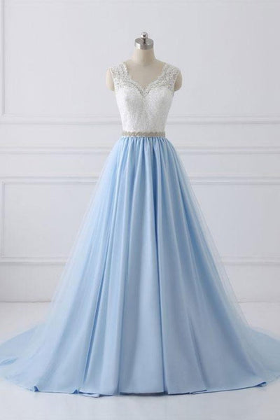 2018 Lace Straps A line Blue Skirt Long Evening Prom Dresses, 17554