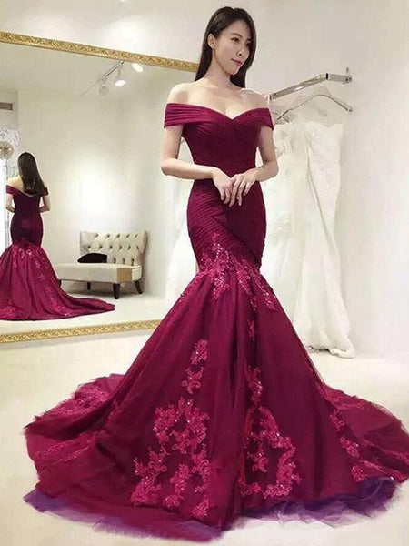 2018 Off Shoulder Red Lace Mermaid Long Evening Prom Dresses, 17667