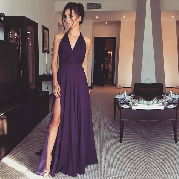 2018 Purple Chiffon Side Slit Long Evening Prom Dresses, 17577