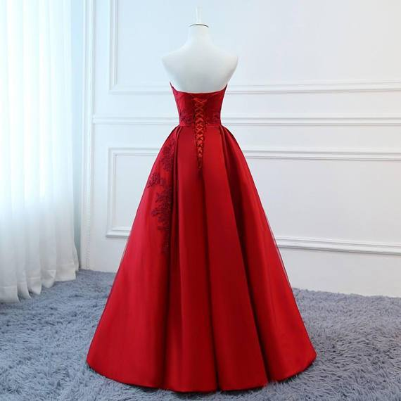 2018 Red V Neck A-line Custom Long Evening Prom Dresses, 17717