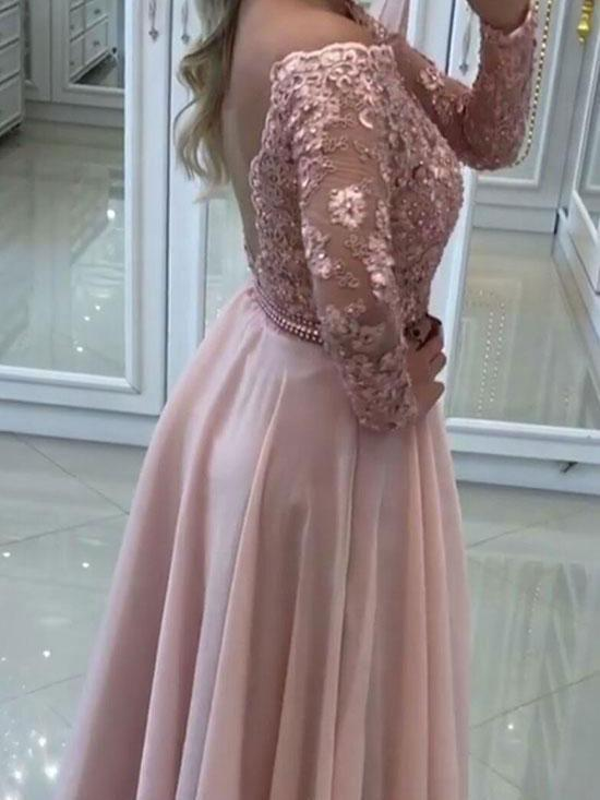 2018 See Through Off Shoulder Lace Beaded Backless Long Sleeve Blush Pink Chiffon Long Custom Evening Prom Dresses, 17401