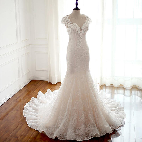 2018 Sexy See Through Cap Sleeve Lace Mermaid Wedding Bridal Dresses, Affordable Custom Made Wedding Bridal Dresses, WD268