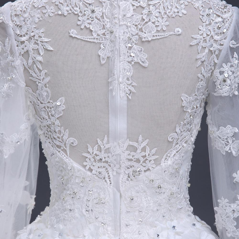 2018 Sexy See Through Long Sleeve Lace A line Wedding Bridal Dresses, Affordable Custom Made Wedding Bridal Dresses, WD267