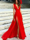 2018 Sexy Side Slit Low V Neck A line Long Evening Prom Dresses, 17459