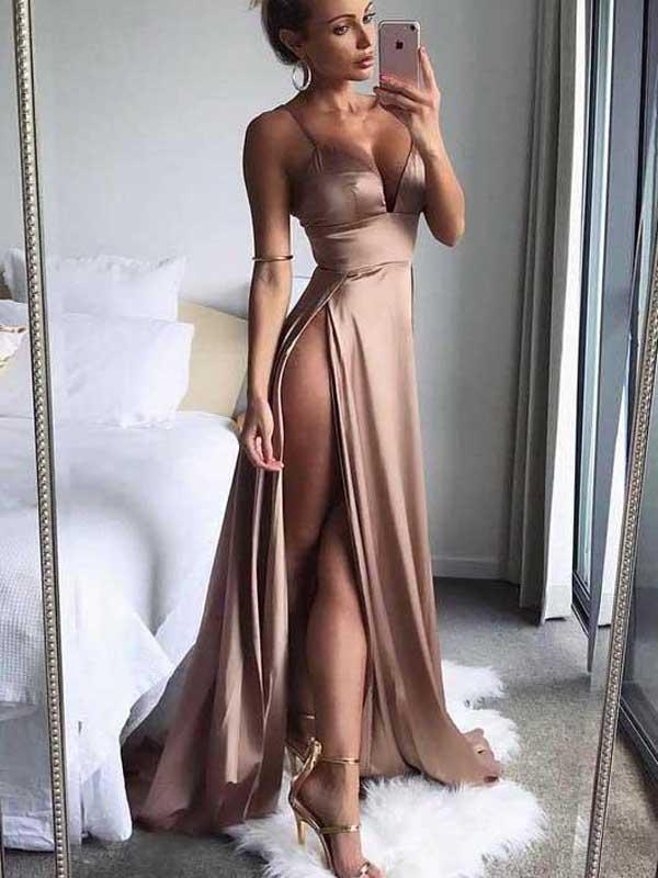 2018 Simple Sexy Side Slit V Neck Affordable Long Evening Prom Dresses, 17457