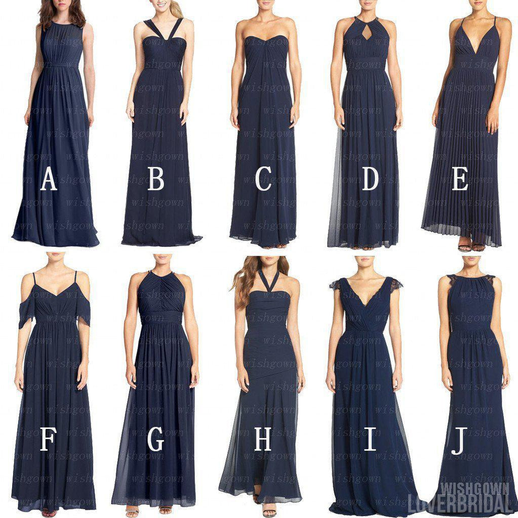 A Line New Design Navy Blue Mismatched Chiffon Charming Cheap Long Wedding Party Bridesmaid Dresses, WG303