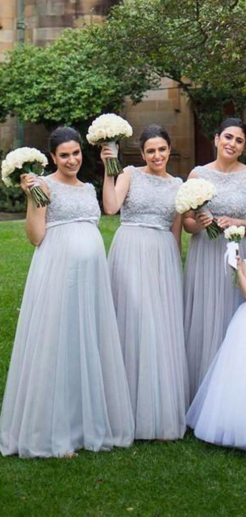 A-line Tulle Beteau Sleeveless Cheap Long Bridesmaid Dresses Online, WG839