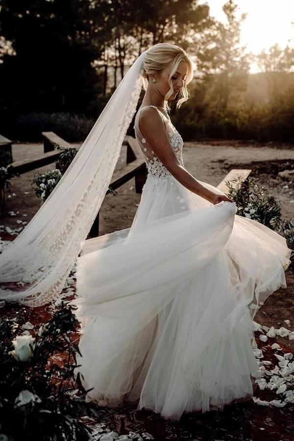 A-line V Neck Cute Cheap Wedding Dresses Online, Cheap Bridal Dresses, WD613