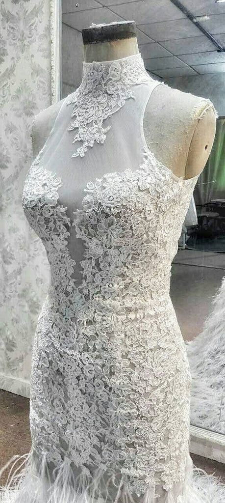 Affordable High Neck Sleeves Mermaid Open Back Lace Charming Long Wedding Dress, WG632