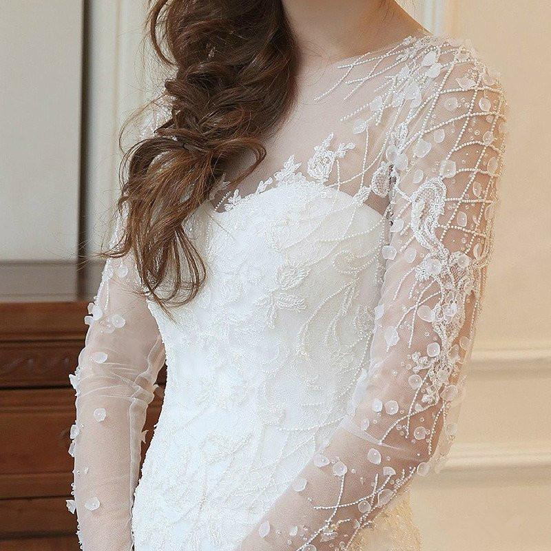 Affordable Mermaid Long Sleeve Lace Wedding Dresses, WD0092